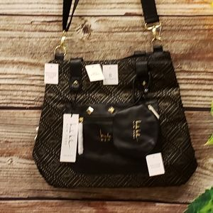 Nicole Miller maternity diaper bag black/gold  NWT